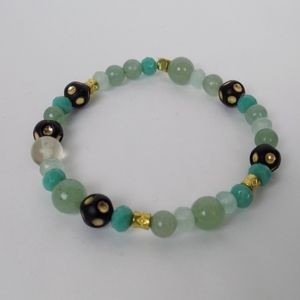 turquoise gold beaded bracelet stretch mall beads